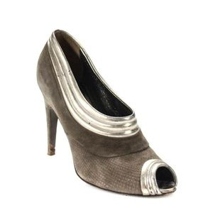 Elie Tahari Peep Toe Pumps Heels Suede Leather 37
